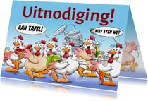 Leuke uitnodiging etentje met kakelende kippen