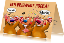 Verjaardagskaarten - Leuke verjaardagskaart met 3 grappige beren