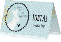 Geboortekaartjes - Lief geboortekaartje 'A little piece of heaven' - blauw