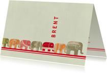 Geboortekaartjes - Lief geboortekaartje met een lange rij olifantjes