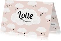 Geboortekaartjes - Lief geboortekaartje Wolkjes - Roze