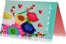 Liefde kaarten - Liefde kaart hart en bloem PA