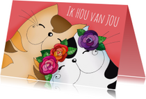 Liefde kaarten - Liefde kaart katten verliefd - SK