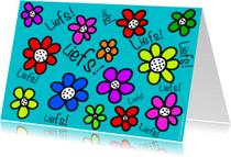 Vriendschap kaarten - Liefs kleurrijke bloemetjes