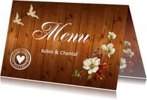 Menukaarten - Menukaart houtprint romantische bloemen