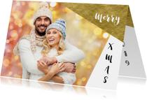 Kerstkaarten - Moderne kerstkaart eigen foto grafisch goud 2019 - OT