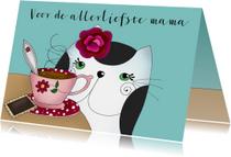 Moederdag kaarten - Moederdag kaart Kat drinkt thee of koffie