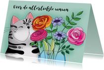 Moederdag kaarten - Moederdag kaart Kat met vaas bloemen - SK