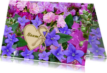 Verjaardagskaarten - Mooie  verjaardagskaart roze en blauwe bloemetjes
