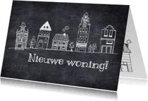 Felicitatiekaarten - Nieuwe woning tekening huisjes