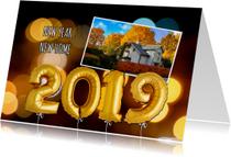 Nieuwjaarskaarten - Nieuwjaars verhuiskaart ballonnen goud 2019