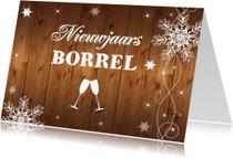Uitnodigingen - Nieuwjaarsborrel uitnodiging houtprint - LB