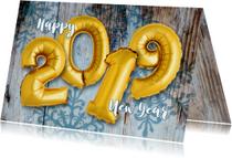 Nieuwjaarskaarten - Nieuwjaarskaart ballon goud 2019 op hout