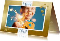 Nieuwjaarskaarten - Nieuwjaarskaart foto op goud kader 2019