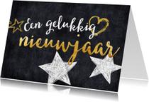 Nieuwjaarskaarten - Nieuwjaarskaart gouden tekst met sterren