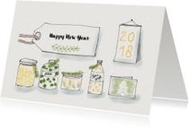 Nieuwjaarskaarten - Nieuwjaarskaart wenspotjes