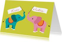 Geboortekaartjes - olifant tweeling jongen meisje