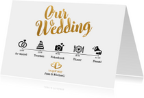 Trouwkaarten - Our wedding goud - BK