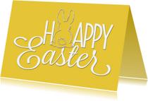 Paaskaarten - Paaskaart Happy Easter geel - SG