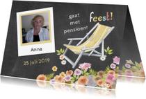 Uitnodigingen - pensioen uitnodiging ligstoel