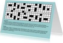 Felicitatiekaarten - Puzzelkaart kruiswoordpuzzel met felicitatie