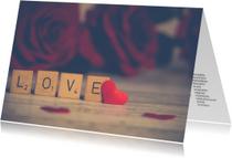 Liefde kaarten - Puzzelkaart Love met woordzoeker liefde