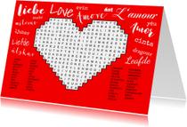 Liefde kaarten - Puzzelkaart met woordzoeker over de liefde