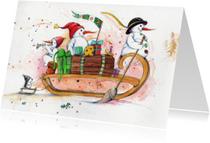 Kerstkaarten - Samen op de slee