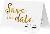 Trouwkaarten - Save the date in gouden letters