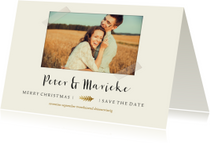 Save the date kerstkaart met foto en gouden takje