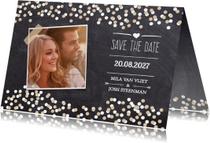 Trouwkaarten - Save the date krijtbord foto -DH