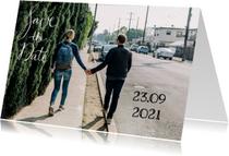 Trouwkaarten - Save the Date modern tekst - HR