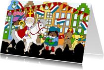 Sinterklaaskaarten - Sinterklaas intocht 1a