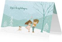 Kerstkaarten - Sneeuwlandschap meisje/jongen met hond