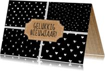 Nieuwjaarskaarten - stempel patronen zwart-wit waterverf