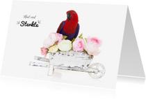 Sterkte kaarten - Sterkte kaart | Papegaai met bloemen