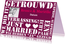 Trouwkaarten - Stiekem getrouwd, verrassing!