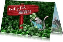 Succes kaarten - Succes kaart met klavertje vier en grappig muisje