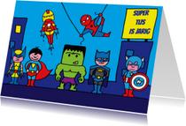 Verjaardagskaarten - superhelden verjaardag kaart