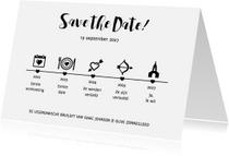 Trouwkaarten - Tijdlijn zwart wit - DH