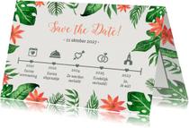 Trouwkaarten - Tropical tijdlijn groen - DH