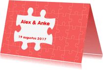 Trouwkaarten - Trouwen Puzzel duo - AW