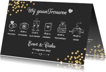 Trouwkaarten - Trouwkaart feestelijk met confetti