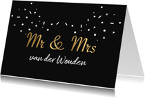 Trouwkaart mr & mrs goud zwart confetti