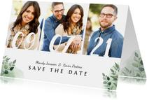 Trouwkaarten - Trouwkaart save the date botanisch met datum en eigen foto's