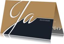 Trouwkaarten - Trouwkaart typografie en fotolijst