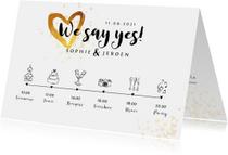 Trouwkaarten - Trouwkaart uitnodiging goudlook tijdlijn met illustraties