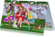 Uitnodigingen - Tuinfeestje met ezels en hoed