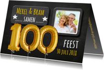 Uitnodigingen - Uitnodiging 100 ballon goud - SG