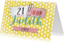 Uitnodigingen - Uitnodiging 21 diner aanpasbaar geel memo